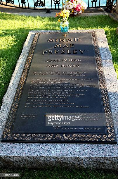 Minnie Mae Presley's burial site in 'Meditation Garden' at Graceland home of the late Elvis Presley in Memphis Tennessee on October 3 2016