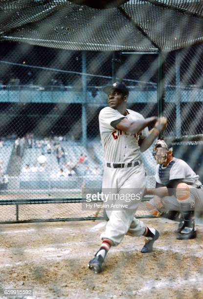 Minnie Minoso of the Chicago White Sox hits in the batting cage before an MLB game against the New York Yankees on June 19 1955 at Yankee Stadium in...