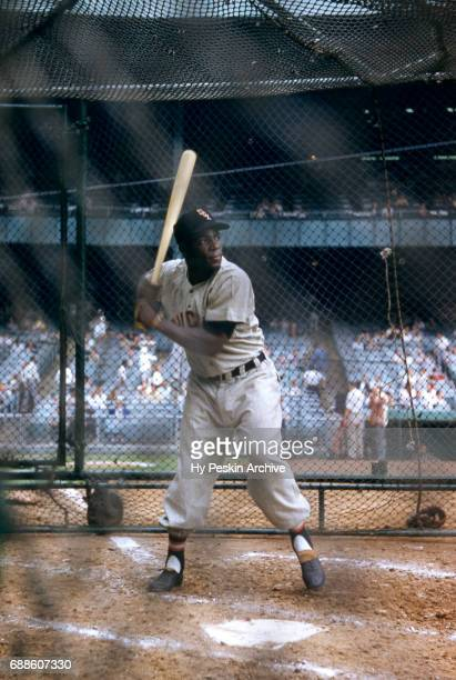 Minnie Minoso of the Chicago White Sox waits for a pitch during batting practice before an MLB game against the New York Yankees on June 19 1955 at...