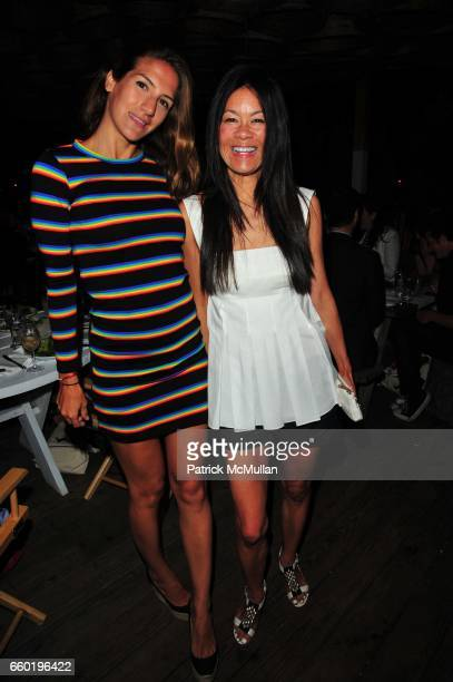 Minnie Mortimer and Helen Lee Schifter attend Peter Davis hosts MINNIE MORTIMER dinner sponsored by Sagatiba at Surf Lodge Montauk NY on July 11,...
