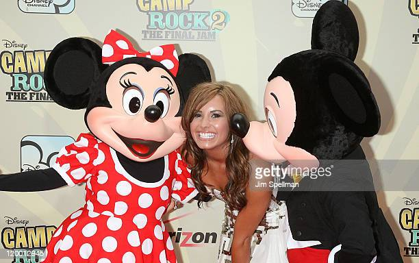 Minnie Mouse Actress Demi Lovato and Mickey Mouse attend the premiere of 'Camp Rock 2 The Final Jam' at Alice Tully Hall Lincoln Center on August 18...