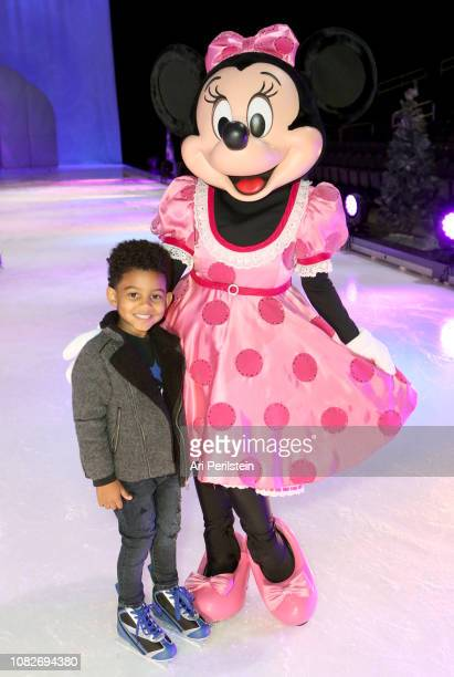 Minnie Mouse and guest attend Disney On Ice Presents Dare to Dream Celebrity Skating Party at Staples Center on December 14 2018 in Los Angeles...