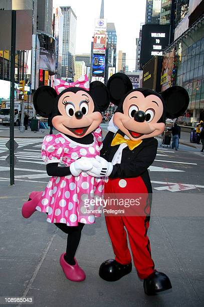 Minnie Mouse and Mickey Mouse attend the launch of Disney Junior at Times Square Studios on February 10 2011 in New York City