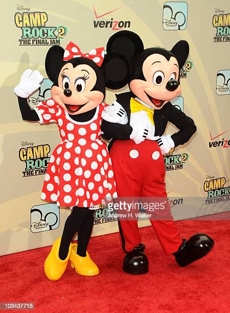 Minnie Mouse and Mickey Mouse attend the premiere of 'Camp Rock 2 The Final Jam' at Alice Tully Hall Lincoln Center on August 18 2010 in New York City
