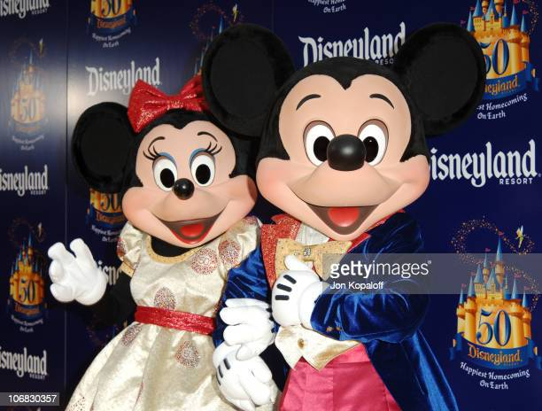 """Minnie Mouse and Mickey Mouse during Disneyland 50th Anniversary """"Happiest Homecoming on Earth"""" Celebration - Arrivals and Fireworks at Disneyland in..."""