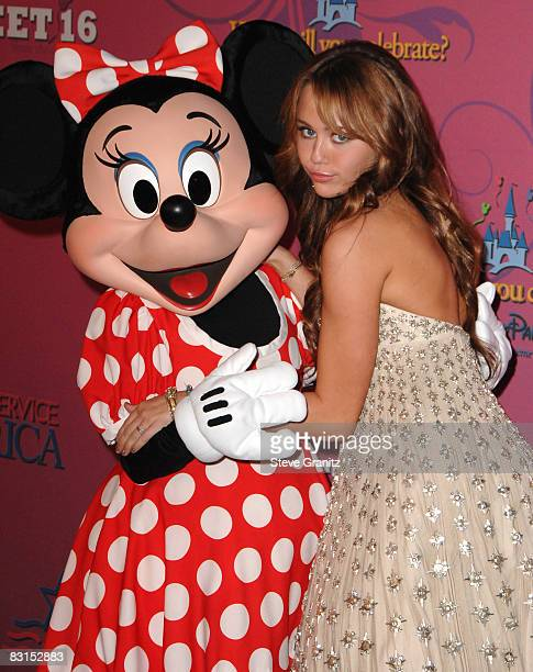 Minnie Mouse and Miley Cyrus arrives at the Miley Cyrus's 'Sweet 16' Celebration At Disneyland on October 5 2008 in Anaheim California