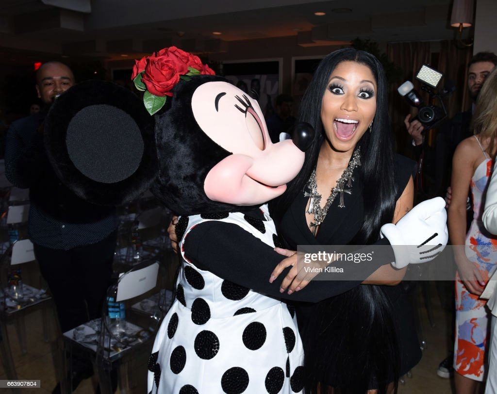 Minnie Mouse and Nicki Minaj attend Fashion LA Awards at the Sunset Tower Hotel on April 2, 2017 in West Hollywood, California. Minnie is wearing a custom alice + olivia dress by Stacey Bendet.