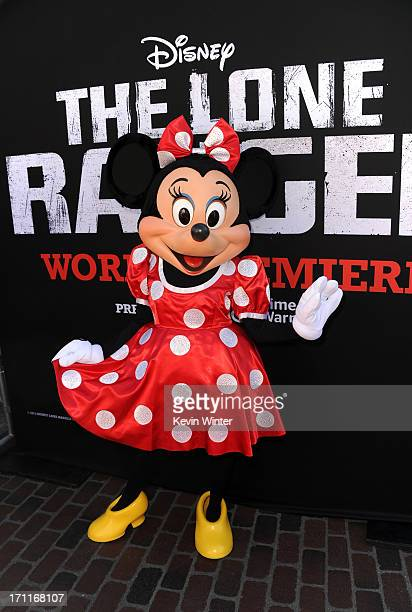 Minnie Mouse arrives at the premiere of Walt Disney Pictures' 'The Lone Ranger' at Disney California Adventure Park on June 22 2013 in Anaheim...