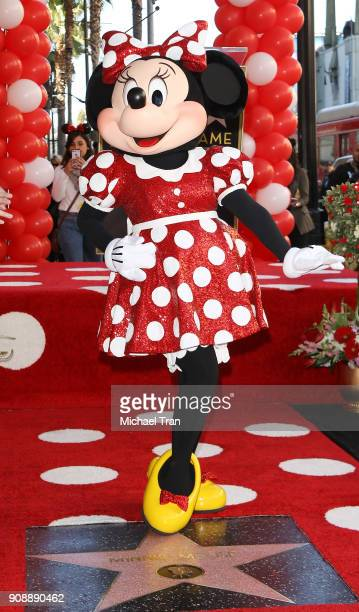 Minnie Mouse attends the ceremony honoring Disney's Minnie Mouse 90th Anniversary with a Star on The Hollywood Walk of Fame held on January 22 2018...
