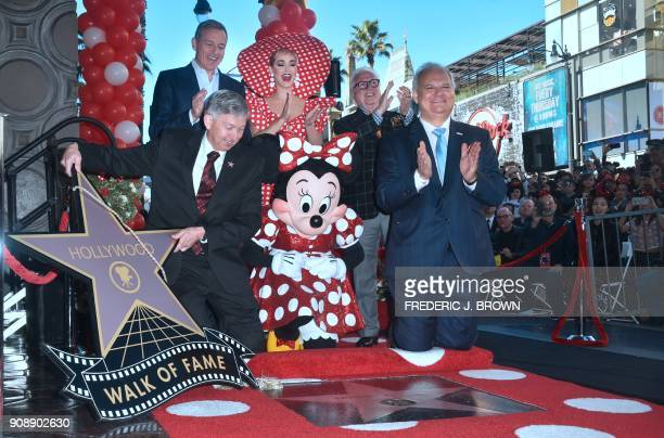 Minnie Mouse is honored with the 2627th star on the Hollywood Walk of Fame on January 22 2018 in Hollywood California where she was joined by Disney...