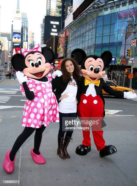 Minnie Mouse Madison Pettis and Mickey Mouse attend the launch of Disney Junior at Times Square Studios on February 10 2011 in New York City
