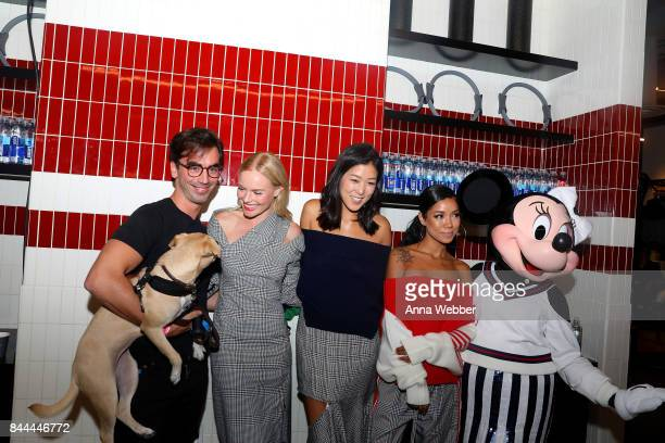 Minnie Mouse wearing a custom Monse look poses backstage with Fernando Garcia Kate Bosworth Laura Kim and Jhene Aiko at Monse SS18 NYFW show at The...