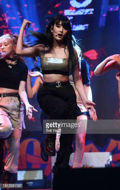Minnie of I-dle attends the showcase for I-dle's second single album 'Uh-Oh' at Blue Square on June 26, 2019 in Seoul, South Korea.