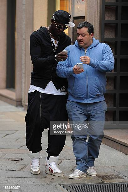 Mino Raiola and Mario Balotelli are seen on March 5 2013 in Milan Italy