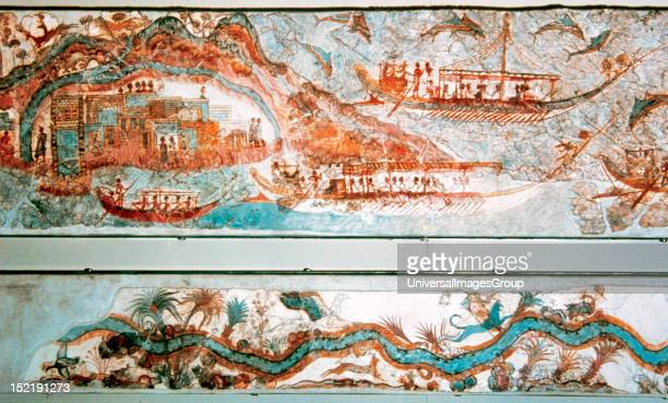 Minoan art Cyclades Islands Naval expedition Fresh dated c15501500 BC It comes from Akrotiri Santorini National Museum of Athens