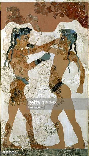 Minoan boys boxing Fresco from Akrotiri Santorini 16th century BC National Archaeological Museum Athens Greece