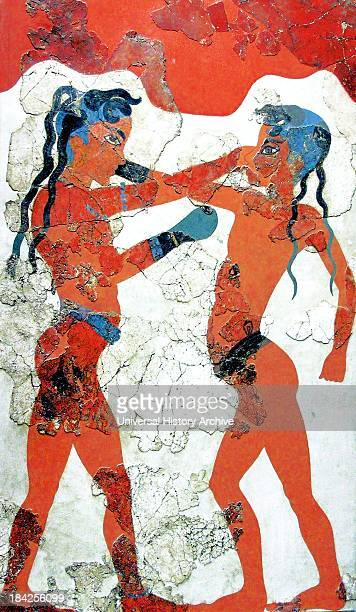 Minoan Boxing Boys Fresco Art in Akrotiri Ancient and important archaeological on the Greek island of Santorini Depicts two boys fighting in a Greek...