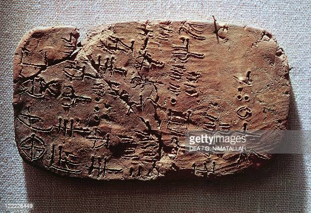 Minoan civilization 18th15th century bC Clay tablet with inscriptions in Linear A 17701450 bC From Hagia Triada