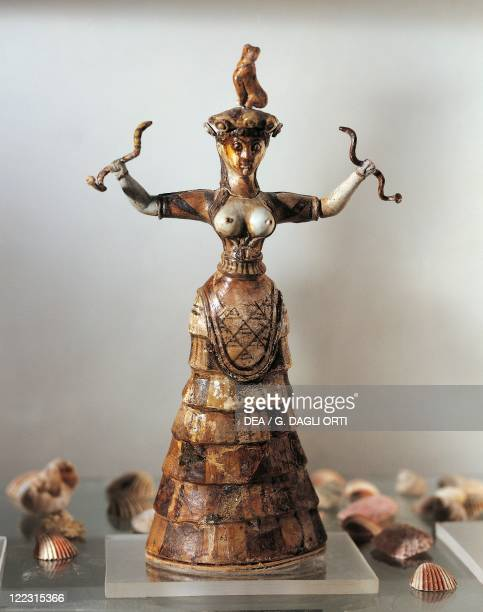 Minoan civilization 18th16th century bC Statuette depicting the Goddess of Snakes From the shrine at the Palace of Knossos