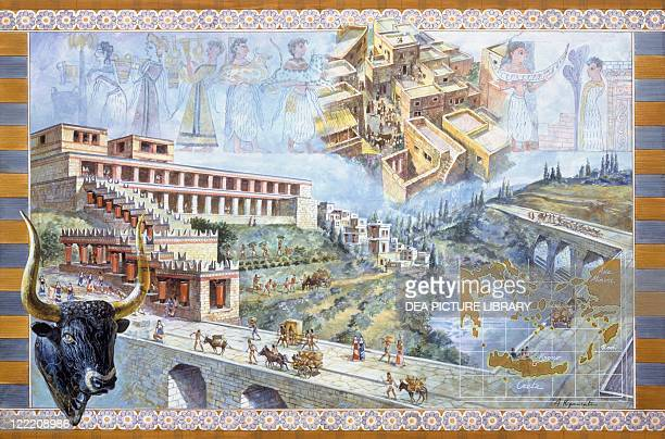 Minoan civilization Greece Island of Crete Reconstructed Palace of Knossos Color illustration