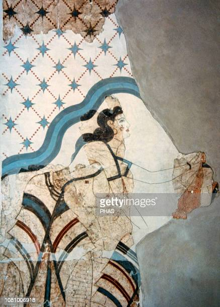 Minoan fresco Akrotiri Island of Thera House of Ladies Lady offering a necklace to a goddess 1650 BC Museum of Prehistoric Thera Santorini Greece