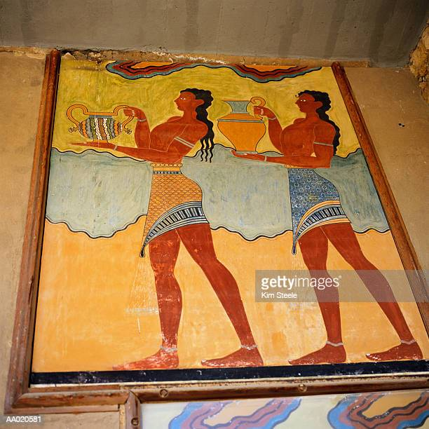 minoan fresco on the wall of the palace of knossos - minoan stock photos and pictures