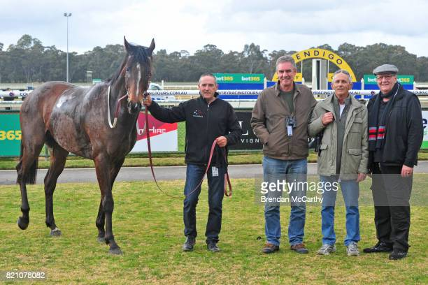 Minoan Spirit and owners after winning the Santons of Bendigo Maiden Plate at Bendigo Racecourse on July 23 2017 in Bendigo Australia