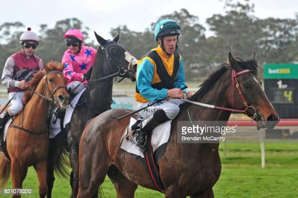 Minoan Spirit ridden by John Allen returns to the mounting yard after winning the Santons of Bendigo Maiden Plate at Bendigo Racecourse on July 23...