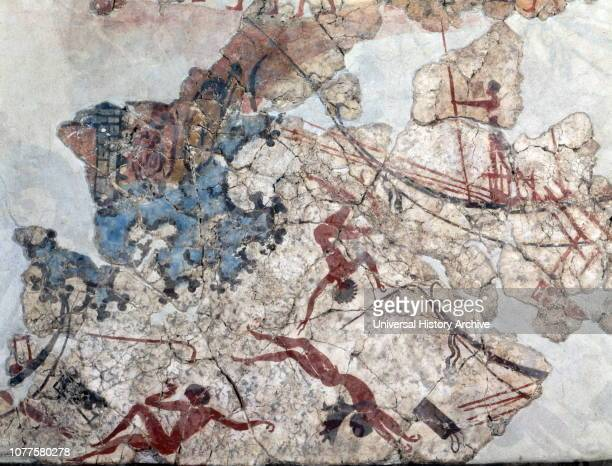 Minoan wall painting from ancient Thera 1600 BC Discovered by Spyridon Marinatos at the excavations of Akrotiri Excavated from 1967 to 1974 the wall...