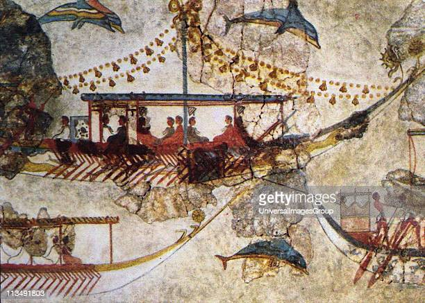 Minoans Traders wall painting from Acrotiri in Thera showing Minoan ships Bronze Age The exchange of products with distant countries was served by...
