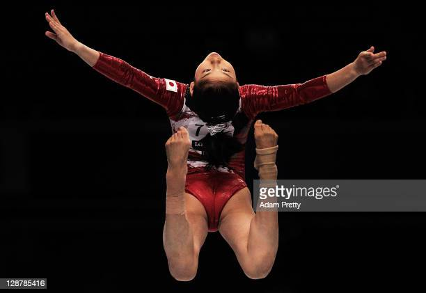 Minobe Yu of Japan competes on the Beam aparatus in the Women's qualification during day two of the Artistic Gymnastics World Championships Tokyo...
