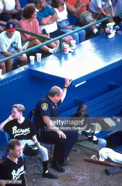Aerial view of Birmingham Barons Michael Jordan dugout talking to security guard at Rickwood Field Birmingham AL CREDIT Patrick MurphyRacey