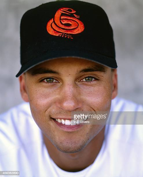 Arizona Fall League Closeup portrait of New York Yankees minor leaguer and Chandler Diamondbacks Derek Jeter posing during photo shoot at Compadre...