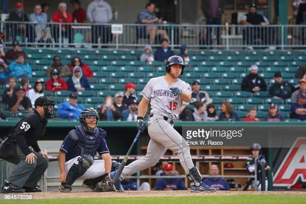 Binghamton Rumble Ponies Tim Tebow in action at bat vs New Hampshire Fisher Cats at Northeast Delta Dental Stadium Manchester NH CREDIT Erick W Rasco