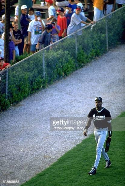 Birmingham Barons Michael Jordan walking off field during game vs Greenville Braves at Greenville Municipal Stadium Class AA Southern League...