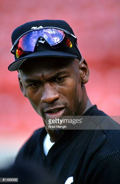 Minor League Baseball Closeup of Basketball player Birmingham Barons Michael Jordan before game San Francisco CA 5/6/1994