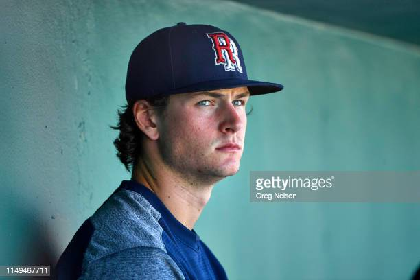 Closeup portrait of Round Rock Express Forrest Whitley seated in dugout during game vs San Antonio Missions at Nelson W Wolff Municipal Stadium San...