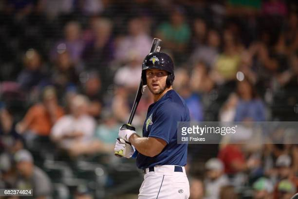 Columbia Fireflies Tim Tebow during at bat vs Hickory Crawdads at Spirit Communications Park Columbia SC CREDIT Bill Frakes