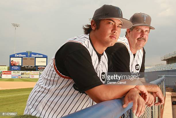 Minor League Baseball Coolbaugh's Death Closeup portrait of Tulsa Drillers pitcher Jon Asahina and pitching coach Bo McLaughlin at Drillers Stadium...