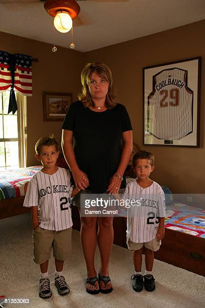 Minor League Baseball: Coolbaugh's Death, Portrait of Amanda Coolbaugh wife of late Tulsa Drillers coach Mike Coolbaugh with sons Joseph and Jacob at...