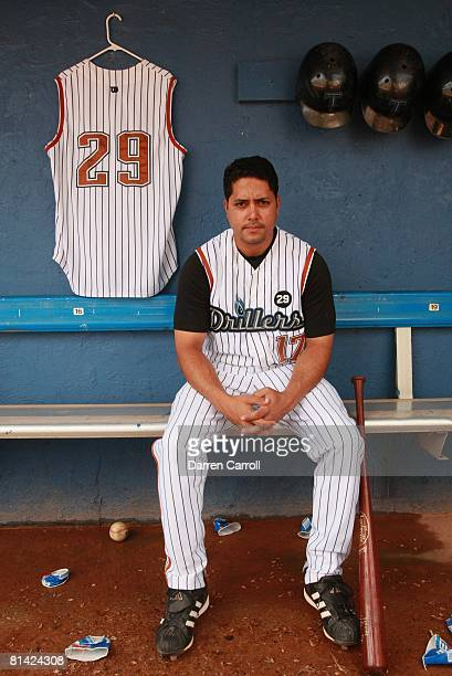 Minor League Baseball: Coolbaugh's Death, Portrait of Tulsa Drillers Tino Sanchez in dugout at Drillers Stadium, Mike Coolbaugh died after being...