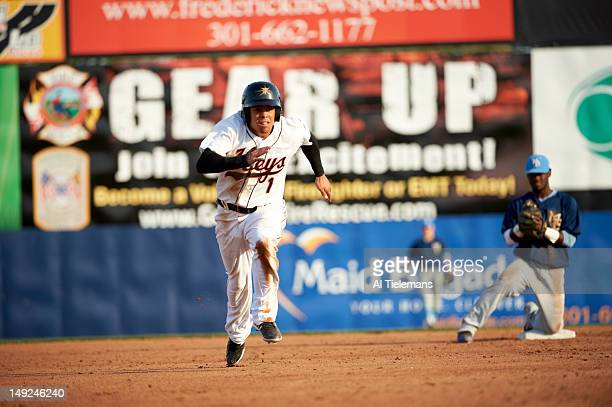 Frederick Keys Steven Bumbry in action running bases vs Myrtle Beach Pelicans at Harry Grove Stadium Class A Carolina League Frederick MD CREDIT Al...