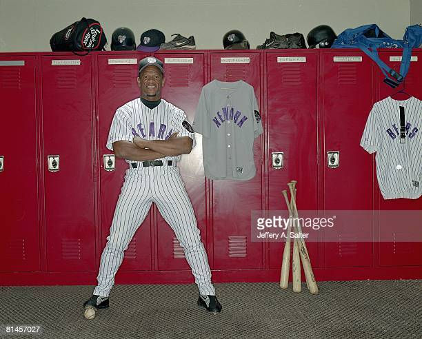Minor League Baseball: Portrait of Newark Bears Rickey Henderson in locker room, Newark, NJ 6/7/2003