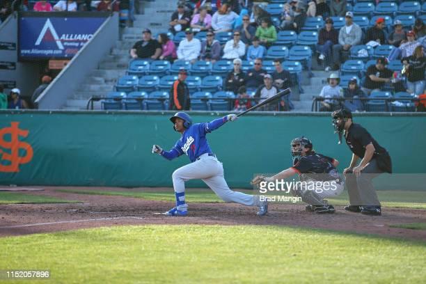Rancho Cucamonga Quakes Jeter Downs in action at bat vs San Jose Giants at San Jose Giants Excite Ballpark San Jose CA CREDIT Brad Mangin