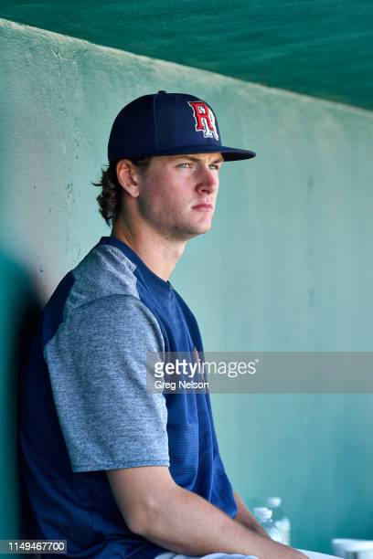Round Rock Express Forrest Whitley seated in dugout during game vs San Antonio Missions at Nelson W Wolff Municipal Stadium San Antonio TX CREDIT...