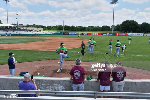 Round Rock Express Forrest Whitley warming up in bullpen before game vs San Antonio Missions at Nelson W Wolff Municipal Stadium San Antonio TX...