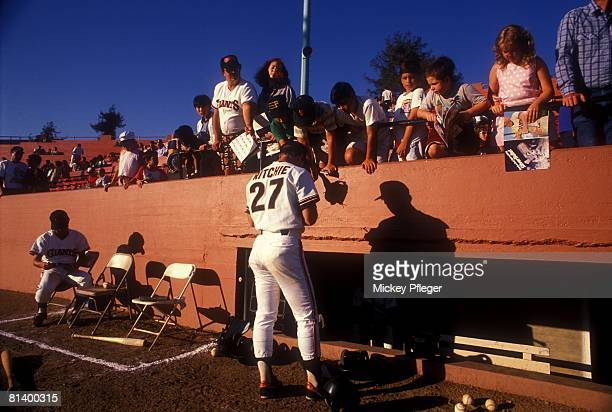 Minor League Baseball San Jose Giants player signing autographs for fans before game vs Modesto Nuts San Jose CA 7/1/19887/31/1988