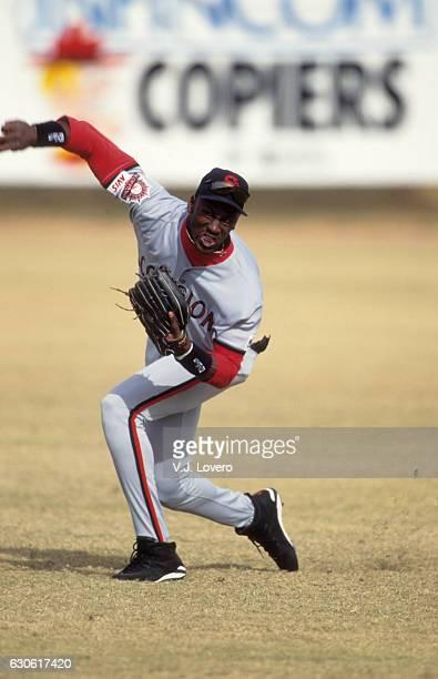 Minor League Baseball: Scottsdale Scorpions Michael Jordan in action, throwing vs Tucson Javelinas at Hi Corbett Field. Tucson, AZ CREDIT: V.J. Lovero