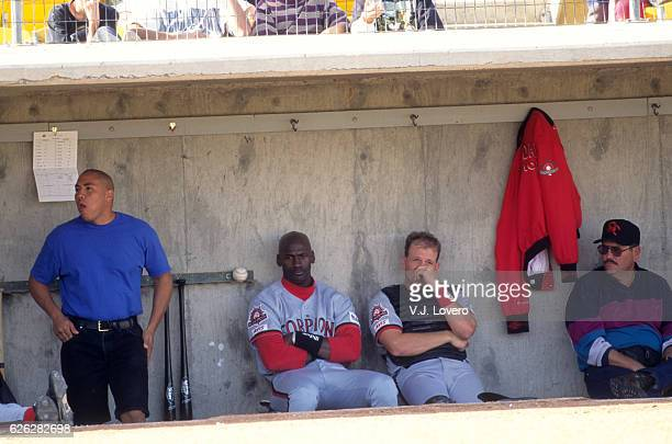 Minor League Baseball: Scottsdale Scorpions Michael Jordan in dugout during game vs Tucson Javelinas at Hi Corbett Field. Tucson, AZ CREDIT: V.J....