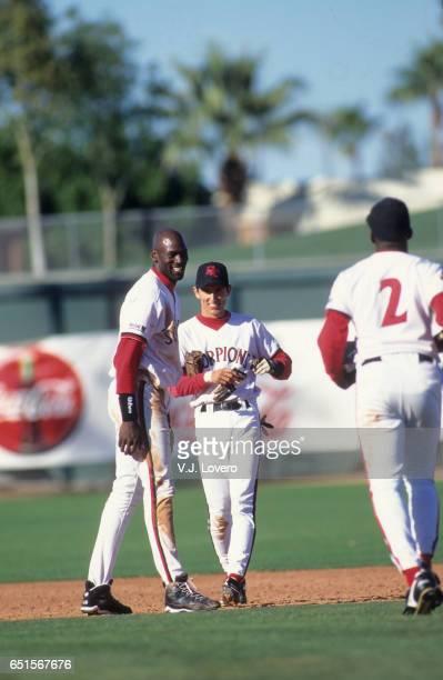 Minor League Baseball: Scottsdale Scorpions Michael Jordan with Nomar Garciaparra during game at Scottsdale Stadium. Scottsdale, AZ CREDIT: V.J....